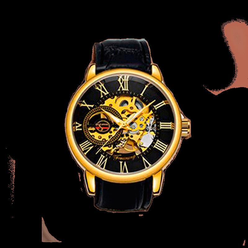 Механические мужские наручные часы Forsining Black-Gold-Black скелетон