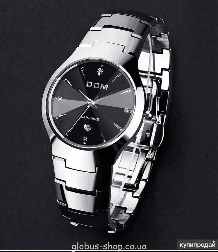 Мужские кварцевые часы Dom Дом из вольфрамовой стали (Черный, Серебро)